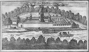 "Schäftlarn Abbey - Engraving of Schäftlarn Abbey from the ""Churbaierische Atlas"" of Anton Wilhelm Ertl, 1687"