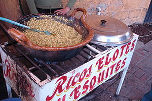 Esquites - Esquites being fried in butter