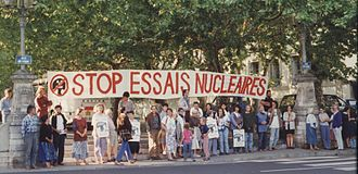 Anti-nuclear movement in France - Demonstration against nuclear tests in Lyon, France, in the 1980s.