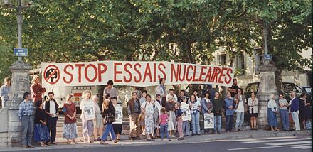 Demonstration against nuclear testing in Lyon, France, in the 1980s. Essais nucleaires manif.jpg