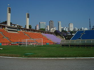 Pacaembu Stadium - Interior view of the pitch and stands