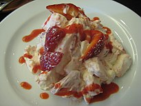 Eton Mess with strawberry coulis