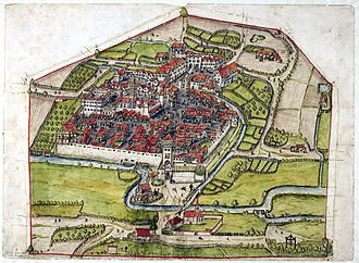 Froben Christoph of Zimmern -  Bird's eye view of Meßkirchin 1575. At the top, the new suburb with Weisenburg Castle and the new hospital. The suburb was founded in 1550.