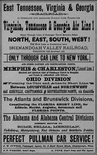 East Tennessee, Virginia and Georgia Railway - Image: Etvga railroad advertisement 1884 tn 1