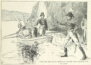 Battle of Queenston Heights - Major Evans (in boat) attempts a prisoner exchange (illustration from a British book)