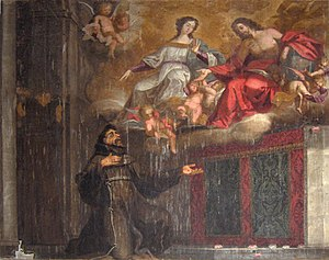 Porziuncola - The miracle of the Porziuncola; painting by Antonio de Oliveira Bernardes (1698); Cathedral of Évora, Portugal.