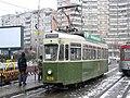 Ex-Bern tram 629 at Gara on Iasi route 3 in January 2006.jpg