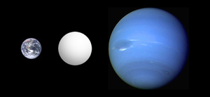 Super-Earth - Illustration of the inferred size of the super-Earth COROT-7b (center) in comparison with Earth and Neptune
