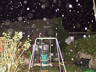 Orb (optics) - Orbs caused by rain.