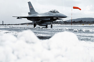 Allied Forces North Norway - A F-16A Fighting Falcon prepares to take off at Bodø Air Station during the exercise Alloy Express in 1982.