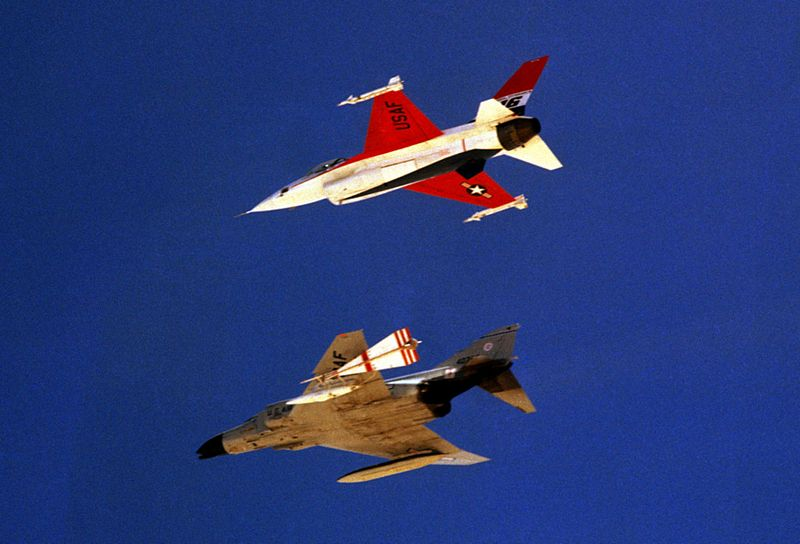 File:F-4C and YF-16 in flight 1976.JPEG