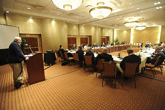 Public administration - Public administration is both an academic discipline and a field of practice; the latter is depicted in this picture of United States federal public servants at a meeting.