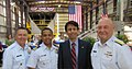FRC Keel Laying - CGC Bernard C. Webber- Master Chief Skip Bowen, LCDR Jo Cousins, Governor Bobby Jindal, Commandant (4505463967).jpg