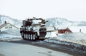 Allied Forces North Norway - A Royal Marines Scimitar reconnaissance vehicle during exercise COLD WINTER '87 in Norway