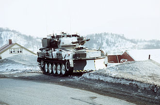 Allied Forces North Norway - A British Army Scimitar reconnaissance vehicle during exercise COLD WINTER '87 in Norway