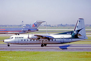 Ozark Air Lines - Fairchild-Hiller FH-227B of Ozark at Chicago O'Hare Airport in 1975