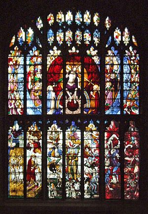 """John Tame - """"Great West Window"""", Fairford Church, depicting the Last Judgement and related scenes. One of the 28 magnificent Fairford stained glass windows installed in his church by John Tame"""