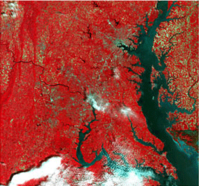 This true-color image shows the area in actual colors, e.g., the vegetation appears in green. It covers the full visible spectrum using the red, green and blue / green spectral bands of the satellite mapped to the RGB color space of the image.