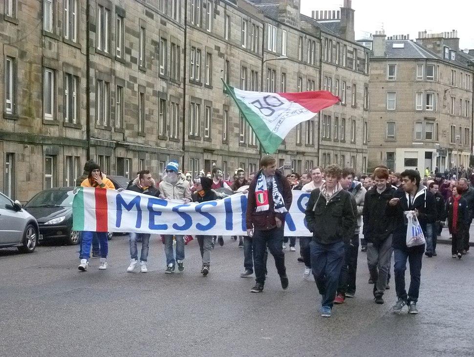 Fans from Messina on their way to Murrayfield Stadium, Edinburgh
