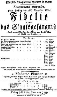 Plakat einer Fidelio-Aufführung (Quelle: Wikimedia)