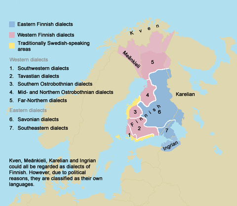 Map of Finnish dialects FinnishDialects.png