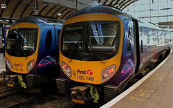 First 185148 & 185149 at Central Station, Newcastle upon Tyne, 7 November 2013.jpg