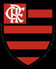 Uno scudo a strisce orizzontali rosse e nere, con un monogramma delle lettere CRF nella parte superiore sinistra