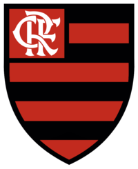 An escutcheon with horizontal red and black stripes, with a monogram of the letters CRF in its upper-left part