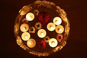 Floating candles on Diwali day.