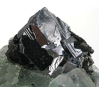 Galena - Galena on fluorite