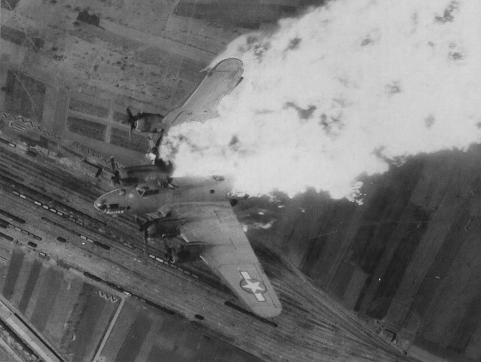 Flying fortress destroyed over nis yards
