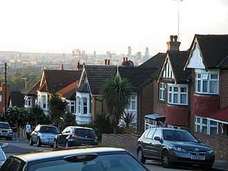 Forest Hill, London - View from the top of Forest Hill. The skyscrapers of the City of London can be seen in the distance