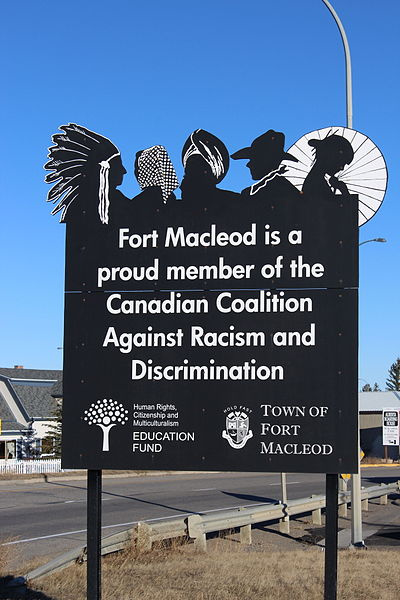 File:Fort Macleod is a proud member of the Canadian Coalition against Racism and Discrimination.JPG