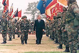 Fort Stewart - President George W. Bush inspects the troops at Fort Stewart on February 12, 2001.