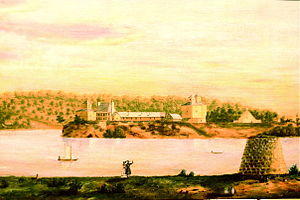 Fort Armstrong, Illinois - 1839 painting of Fort Armstrong, six years after the removal of the Sauk and Fox tribes, on the U.S. Army's, present-day Rock Island Arsenal Island, looking toward Iowa, in the background, from the Illinois side, of the Mississippi River, attributed to Octave Blair.