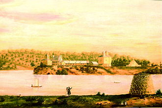 George Davenport - Fort Armstrong, Rock Island, Illinois, in 1838, the year that  George Davenport was appointed a United States Indian Agent, from a painting by Octave Blair