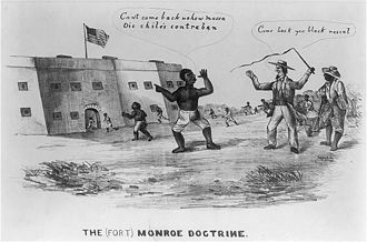 "Fort Monroe - Slaves escape to the fort after Gen. Butler's decree that all slaves behind Union lines would be protected. The policy was called the ""Fort Monroe Doctrine"", alluding to Butler's headquarters at the Fort."