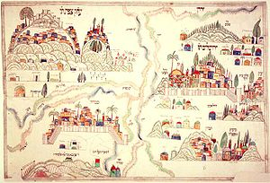 Four Holy Cities - Nineteenth-century out-of scale map of Judaism's four holy cities, with Jerusalem occupying the upper right quadrant, Hebron beneath it, the Jordan River running top to bottom, Safed in the top left quadrant, and Tiberias beneath it. Each of the four cities includes representations of the sacred shrines, as well as the graves of sainted rabbis and holy men.
