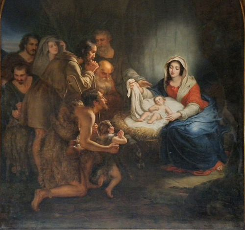 Fr Strasbourg Eglise Sainte Madeleine Nativity paiting - detail