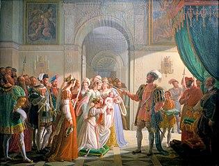 François 1er armant chevalier son petit-fils François II