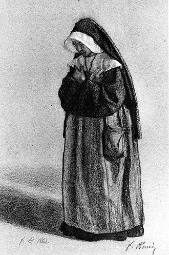 Attitude (art) - Nun Standing in Attitude of Prayer (1862), charcoal and pastel on paper, by François Bonvin