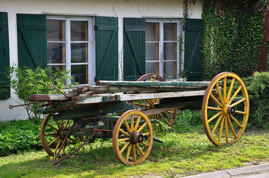 Old wagon in the Rue de l'Église in Foucaucourt-sur-Thabas (Canton Seuil-d'Argonne, Meuse department, Lorraine region, France).