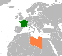 Map indicating locations of France and Libya
