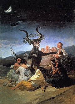 The devil in the form of a goat is surrounded by a coven of disfigured, aging witches in a moon-lit, barren landscape. The goat possesses large horns and is crowned by a wreath of oak leaves. He acts as priest at the initiation ceremony of an emaciated infant held in the hands of one of the witches. The body of another infant lies dead nearby, while bats fly overhead.