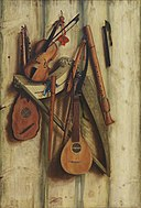 Franciscus Gijsbrechts - Board Partition with Musical Instruments. Trompe l'oeil - KMS3073 - Statens Museum for Kunst.jpg