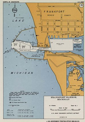 Navigation Structures at Frankfort Harbor - Frankfort MI harbor map