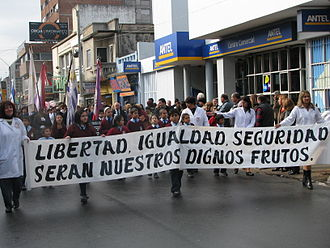 """Artiguism - """"Let freedom, equality and security be our worthy fruit"""". Parade in Uruguay honoring the Artiguist thought."""