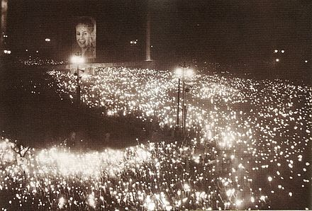 Nearly three million people attended Evita's funeral in the streets of Buenos Aires. Funeral de Evita.jpg