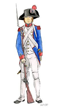 A French fusilier carries his long muzzled musket. He wears a blue jacket and white shirt and trousers; his cartridge belt is strapped across his chest and he wears a tricornered hat with a red revolutionary cockade.
