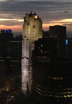 NBC Studios (New York City) - 30 Rockefeller Plaza as seen from the Citigroup Center at dusk.